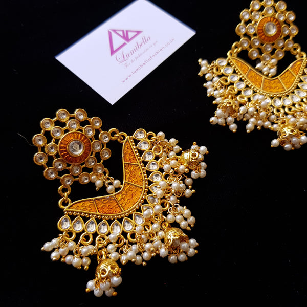 Yellow Enameled Chandbali Style Earrings