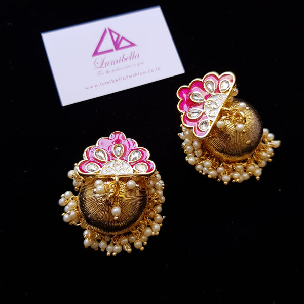 Pink Enameled Golden Polish Jhumka Jhumki