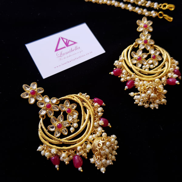 Kundan Style Designer Chandbali Earrings with Ruby Pearls