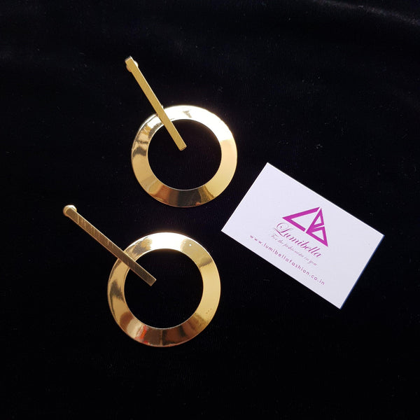 Circle style golden statement earring