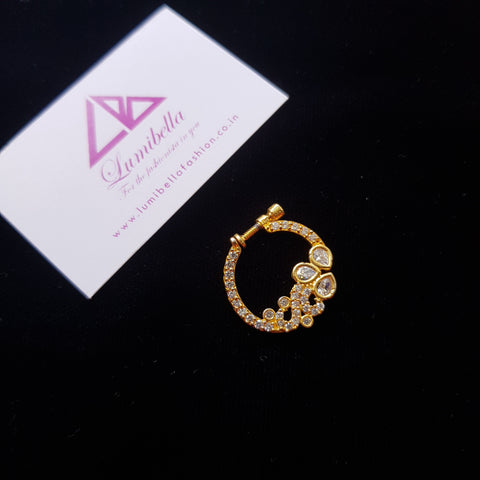 Golden Nath with American Diamond Nosepin With white stone Embellishment