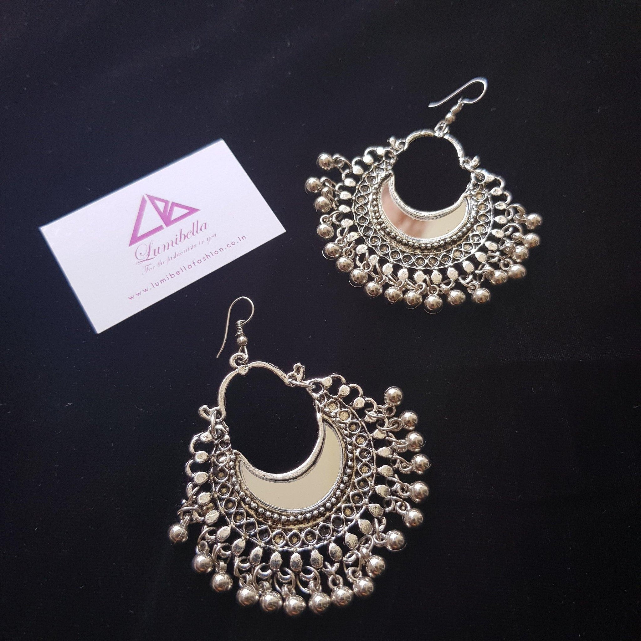 German silver hook style earring with mirror and pretty gungurus