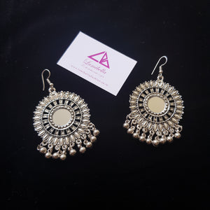 German silver hook style mirror work earring