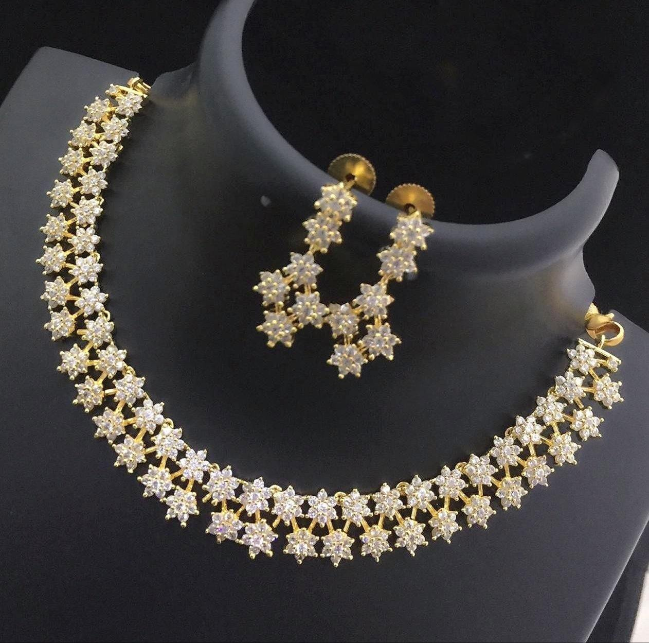 Two Line White American Diamond Studded Neckset