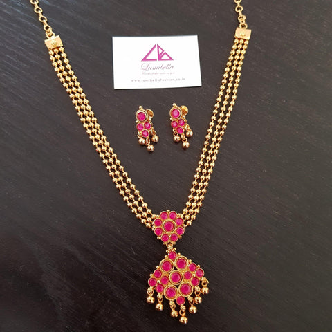 Gold Polish Ruby Stone Studded Neckset
