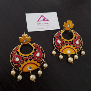 Enameled Kundan style chandbali Earrings