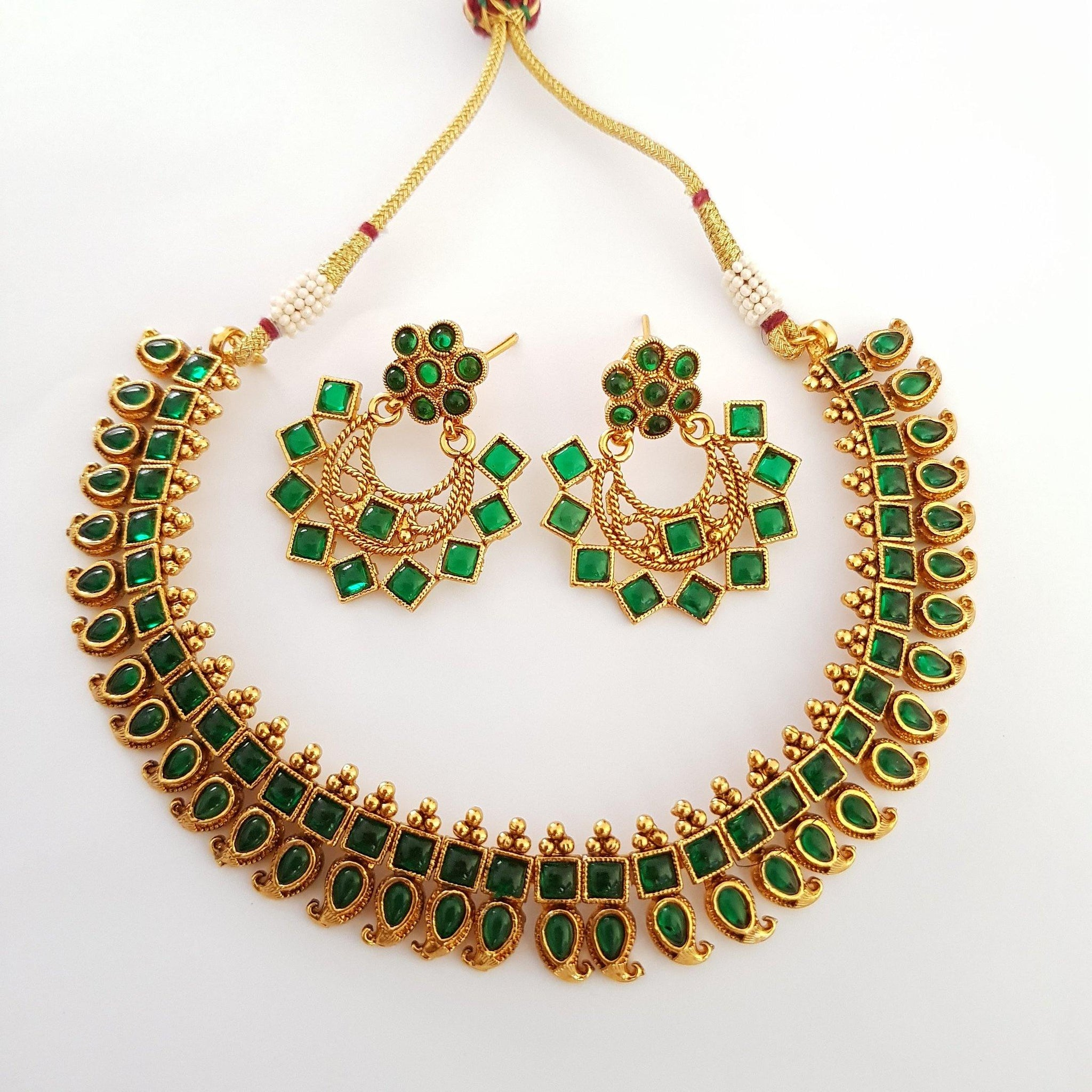 Green Stone Studded Floral Antique Style Neckset
