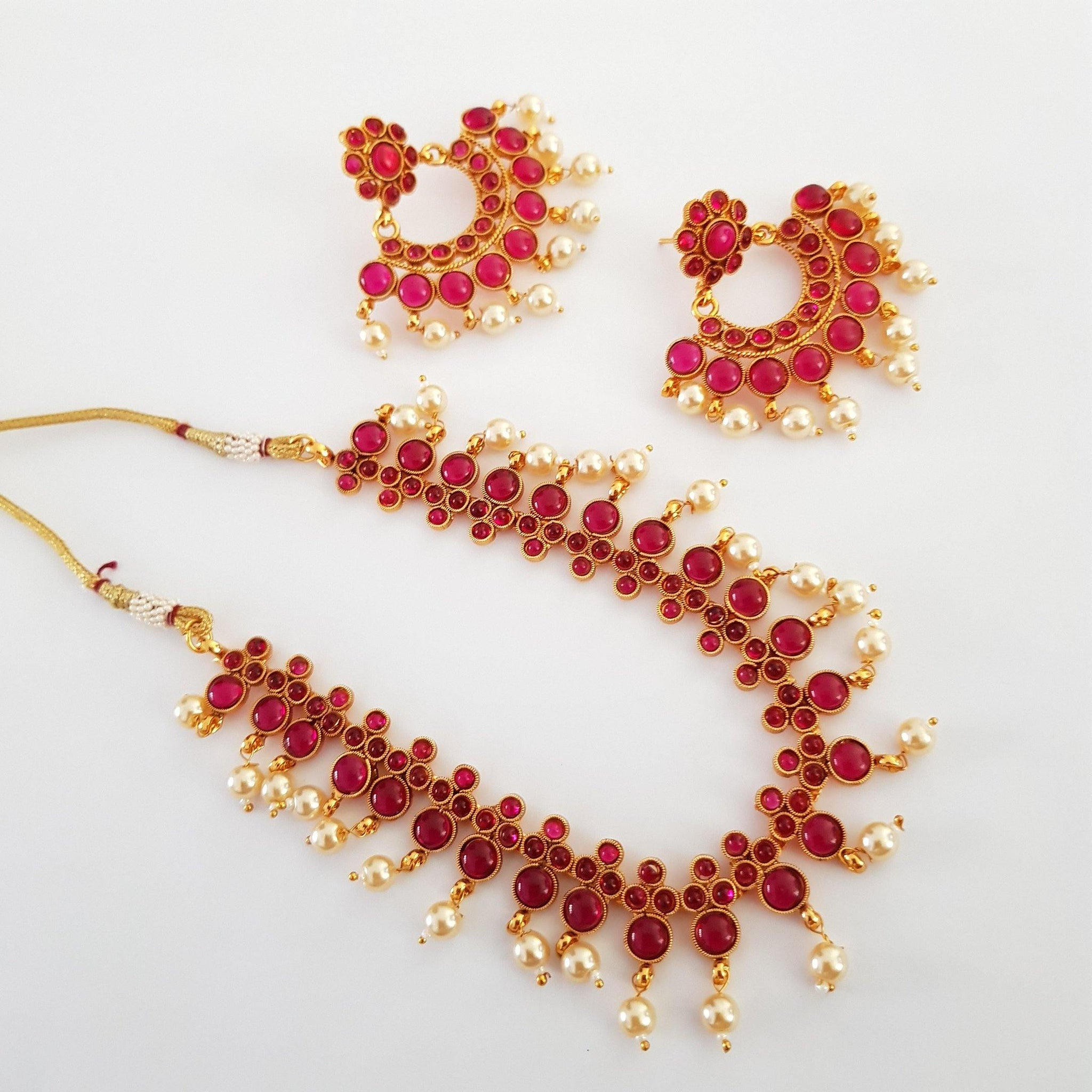 Ruby Stone Studded Floral Antique Style Neckset