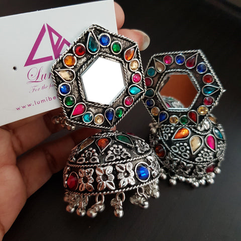 Mirror Oxidised Big Jhumka with multi color stones