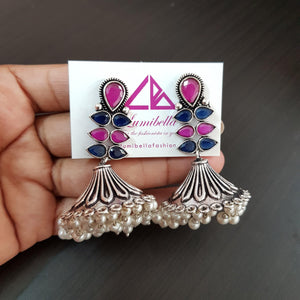 Oxidised Elegant Jhumka with Ruby and Blue Stones