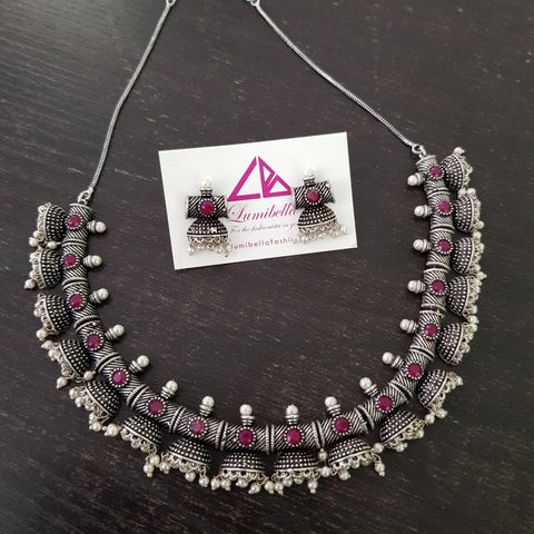 Oxidised Silver Neckset with Ruby Stones