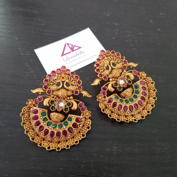 Peacock Style Matte Chandbali Earrings