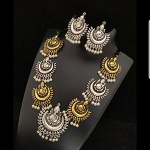 Dual Tone Ganesh Style German Silver Neck Set