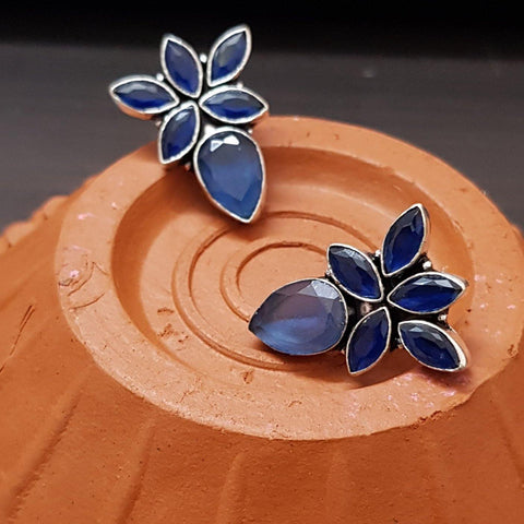 Blue Floral Pattern Stud Earrings