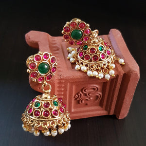 Gold Polish Jhumka with Kemp Stones
