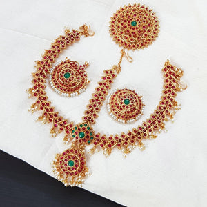 Kemp style three-layered Maang tikka with Moon and Sun Accessory