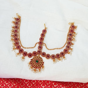 Kemp style three-layered Maang tikka with Golden bead work