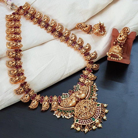Heavy Work Matte Peacock Style Long Haram With Jhumka