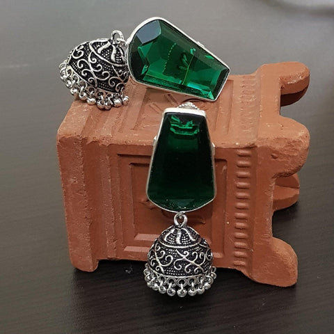 Green Stone Embellished German silver jhumka earrings with Gungurus