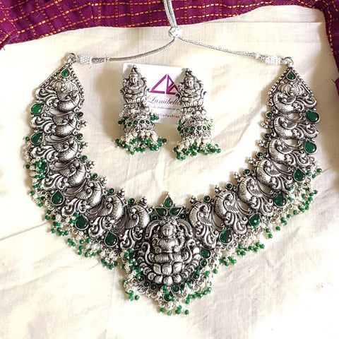 Green Peacock Style Silver Matte Neck Set