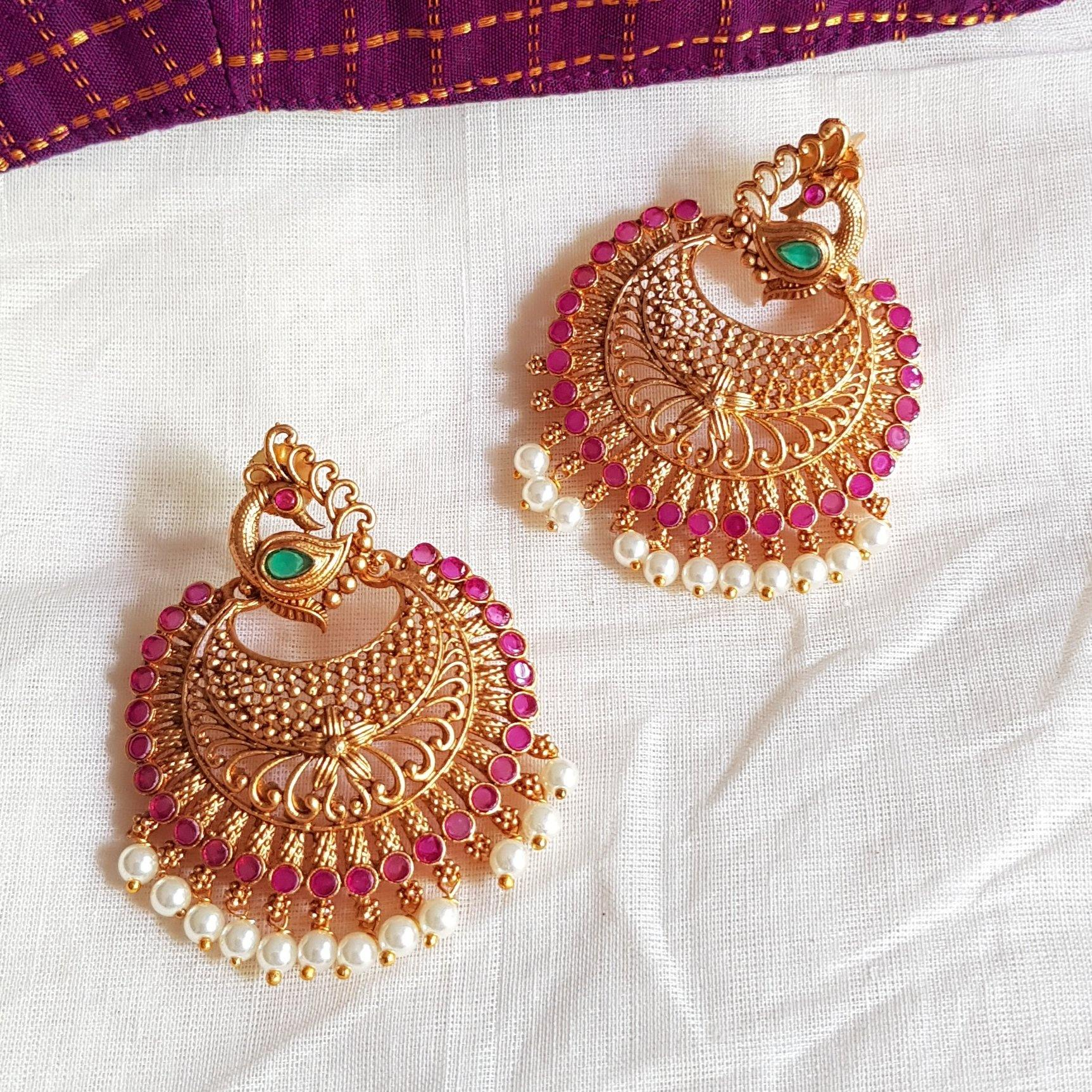 Peacock Style Chandbali Earrings