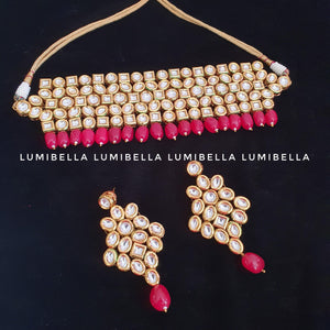 Kundan Choker Necklace With Red Beads