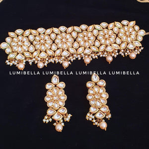 White Kundan and Pearl Embellished Kangana Choker