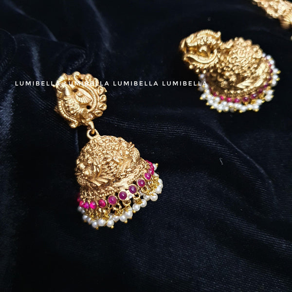 Two Layered Pearl Style Long Haaram With Jhumki