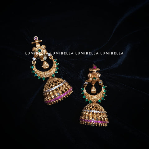 Elegant Matte Style Jhumka Jhumki Earrings with Pearls
