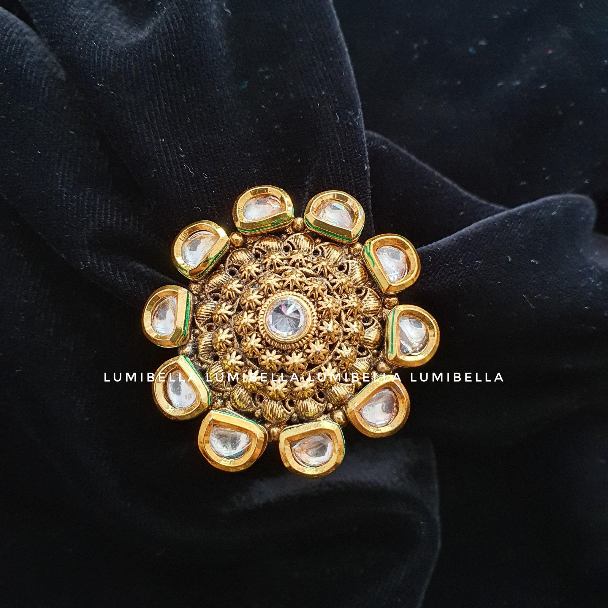 Kundan Style Adjustable Finger Ring