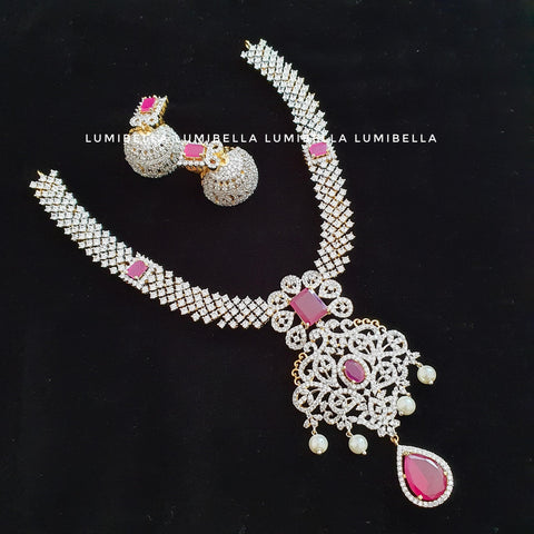 White Polish CZ Long Necklace With Ruby Embellishment
