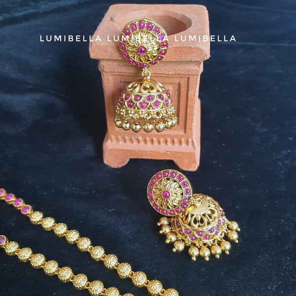 Matte Long Peacock Haram With Jhumki Earrings