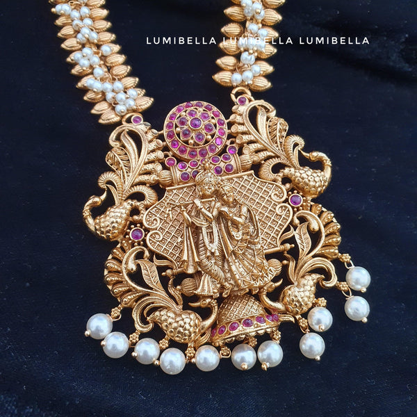 Krishna Style Pearl Work Long Necklace