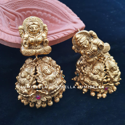 temple style laxmi jhumki earrings