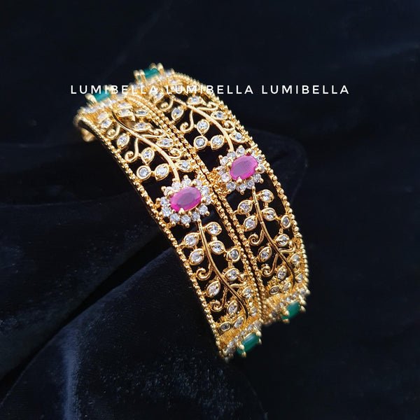 1 gram gold polish american diamond studded big bangles
