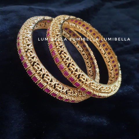 Antique Style Bangles With Ruby Stones