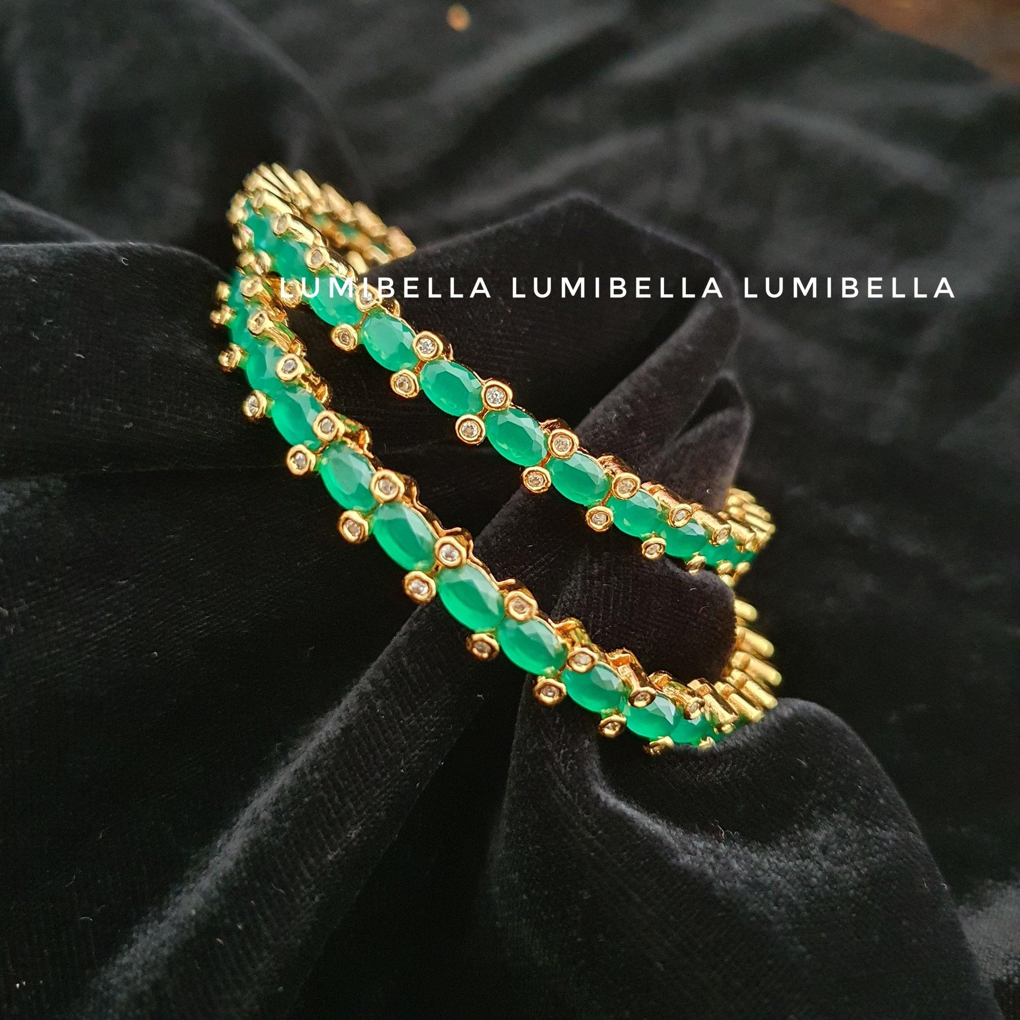 1 gram gold polish green american diamond Studded bangles  2*6