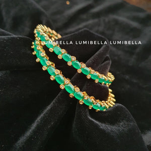 1 gram gold polish green american diamond Studded bangles