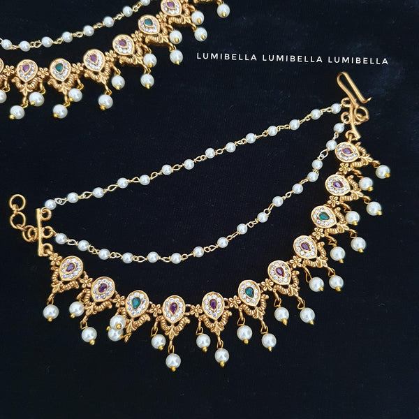 Gold matte polish ear chains with pearls