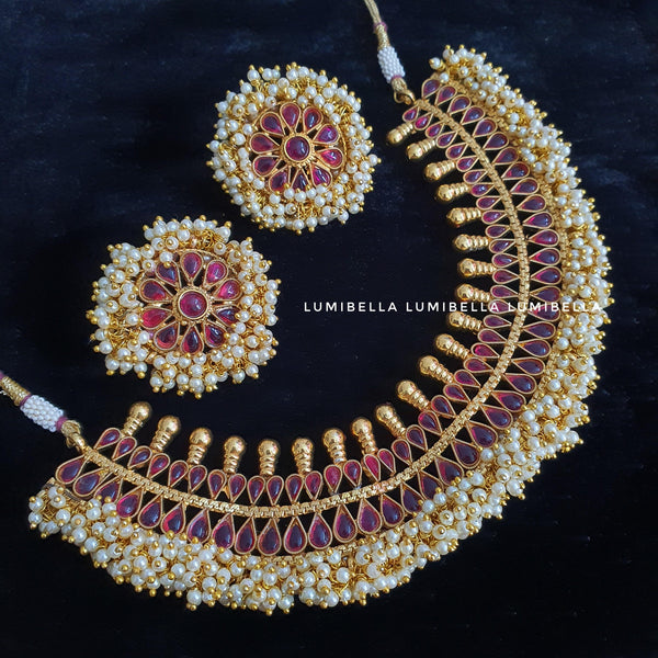 Ruby and Pearl Studded Traditional Neckset