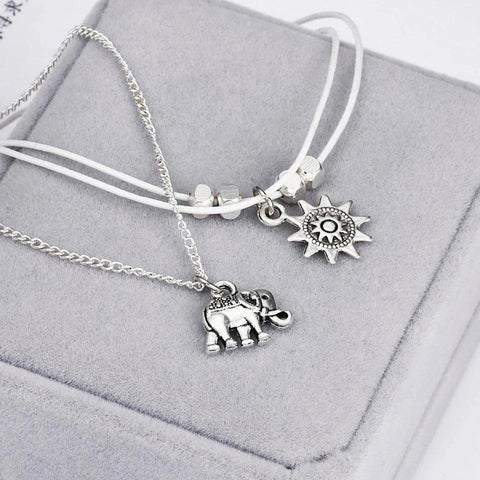 Vintage Multiple Layers Anklets with Elephant Sun Pendant Charms