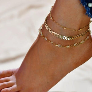Single Leg Silver Boho Anklets / Bracelet Chains with silver charms