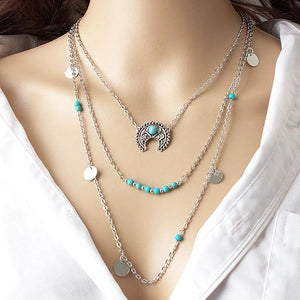 3 layer turquoise beads embellished  fashion Choker Neckset
