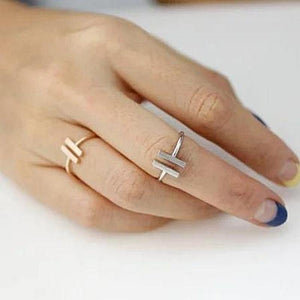 Simple Unique Double Bar Rings for Women Adjustable
