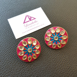 Kundan Pink Stud Earrings