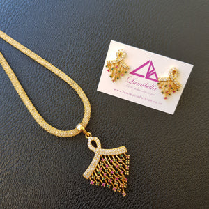 Gold polished AD Pendant set