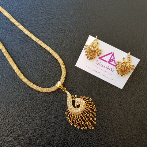 Peacock Style Gold polished AD Pendant set