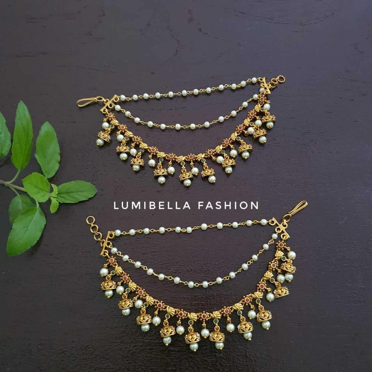 Jhumka Style Ear Chain With Gold Finish