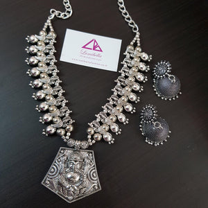 Lord Ganesha Temple Oxidised Neckset