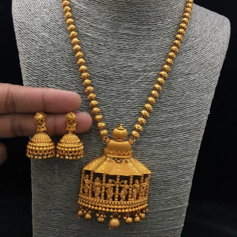 Temple Style Matte Neck set With Jhumki Earrings